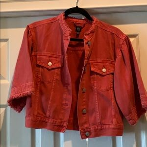 Red denim jacket from the Gap.